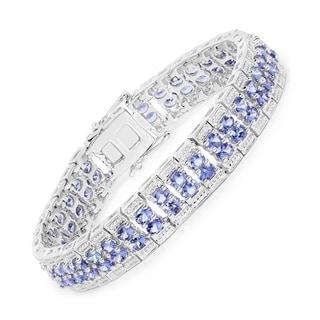 Malaika Sterling Silver 12 7/8ct Genuine Tanzanite Bracelet