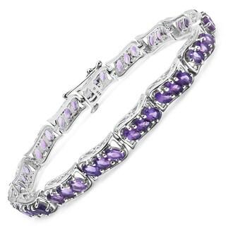 Malaika Sterling Silver 12 1/6ct Genuine Amethyst Bracelet