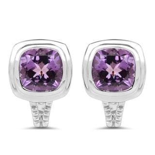 Malaika Sterling Silver 7 1/10ct Genuine Amethyst Earrings