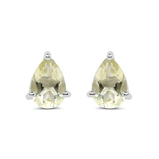 Olivia Leone Sterling Silver 1 1/4ct Genuine Lemon Topaz Pear Shape Earrings