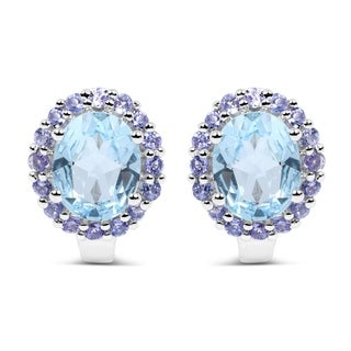 Malaika Sterling Silver 7 1/2ct Genuine Blue Topaz and Tanzanite Earrings