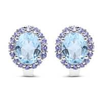 Malaika Sterling Silver 7 1/2ct Genuine Blue Topaz and Tanzanite Earrings