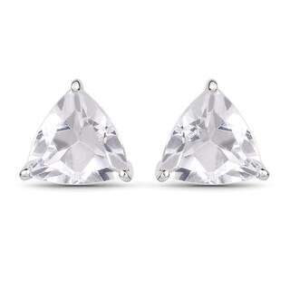 Olivia Leone Sterling Silver 1 3/4ct Genuine White Topaz Trillion Shape Earrings