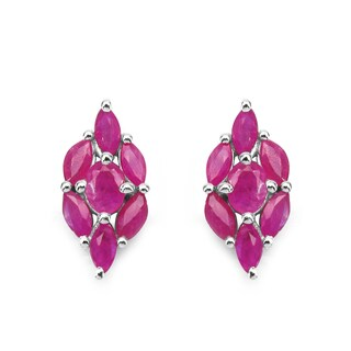 Malaika Sterling Silver 1 7/8ct Genuine Ruby Earrings