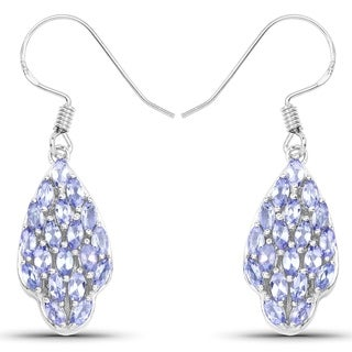 Malaika Sterling Silver 2 5/8ct Genuine Tanzanite Earrings
