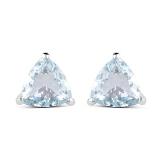 Olivia Leone Sterling Silver 1 1/4ct Genuine Aquamarine Trillion Shape Earrings