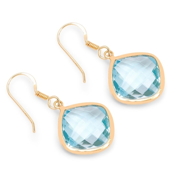 Olivia Leone Yellow Goldplated Sterling Silver 37 1 4ct Genuine Blue Topaz Earrings
