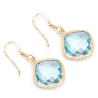 Olivia Leone 14k Yellow Goldplated Sterling Silver 37 1/4ct Genuine Blue Topaz Earrings
