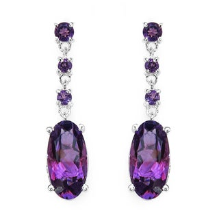 Malaika Sterling Silver 9 5/8ct Genuine Amethyst Earrings