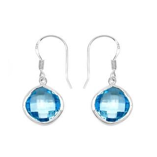 Malaika Sterling Silver 14 7/8ct Genuine Blue Topaz Earrings
