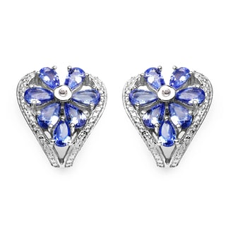 Malaika Sterling Silver 2 3/4ct Genuine Tanzanite and White Topaz Earrings