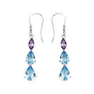Olivia Leone Sterling Silver 7 1/2ct Genuine Blue Topaz and Amethyst Earrings