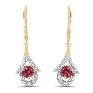 Olivia Leone 14k Yellow Goldplated Sterling Silver 1 1/5ct Genuine Pink Tourmaline Earrings