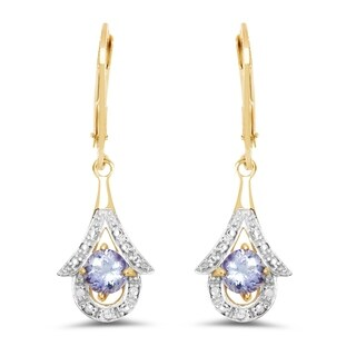 Olivia Leone 14k Yellow Goldplated Sterling Silver 7/8ct Genuine Tanzanite Earrings