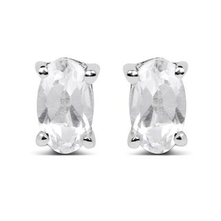Olivia Leone Sterling Silver 3/4ct Genuine White Topaz Oval Shape Earrings