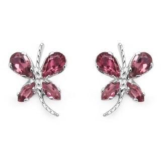 Olivia Leone Sterling Silver 1 1/5ct Genuine Pink Tourmaline Earrings