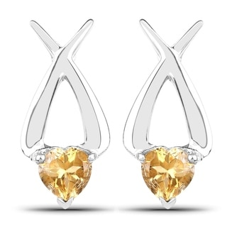 Malaika Sterling Silver 1 2/5ct Genuine Heart Shape Citrine Earrings