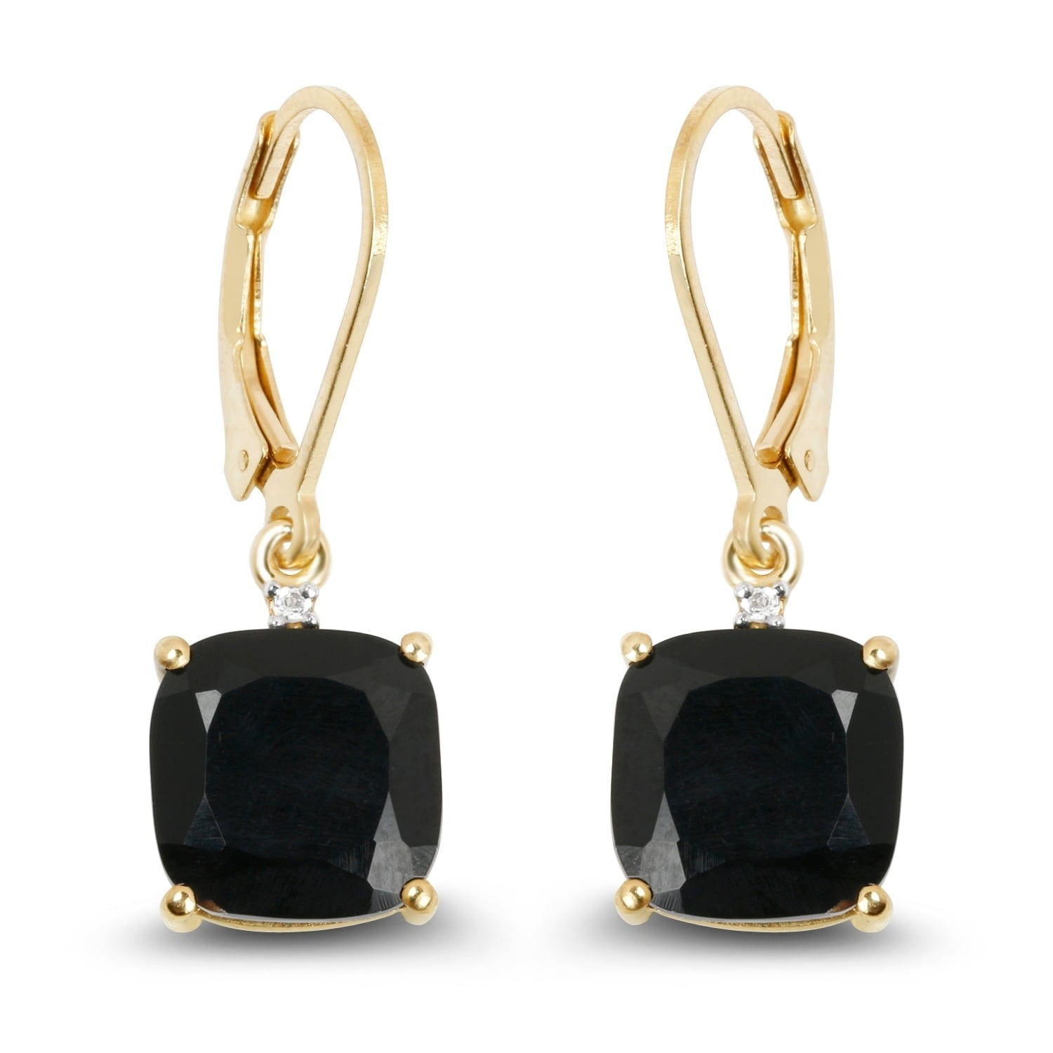 Olivia Leone Yellow Goldplated Sterling Silver 6 3 5ct Black Onyx And White Topaz Earrings