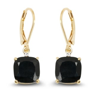 Olivia Leone Yellow Goldplated Sterling Silver 6 3/5ct Black Onyx and White Topaz Earrings