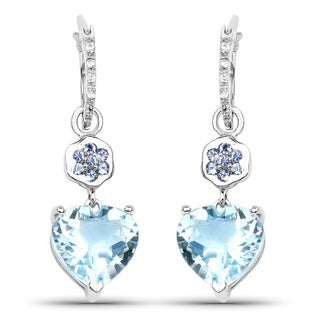 Malaika Sterling Silver 7 1/3ct Blue Topaz Tanzanite and White Topaz Heart Earrings