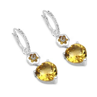 Olivia Leone Sterling Silver 6 2/5ct Genuine Citrine and White Topaz Earrings