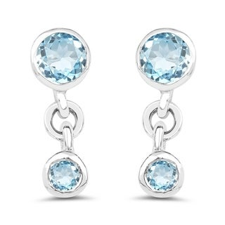 Olivia Leone Sterling Silver 7/8ct Genuine Blue Topaz Earrings