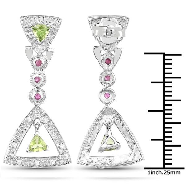 1 1//4 ct Natural Peridot /& Cubic Zirconia Stud Earrings in Sterling Silver