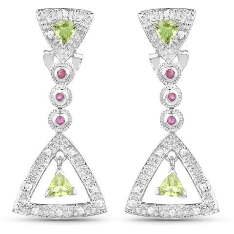 Malaika Sterling Silver 1 2/5ct Peridot Ruby and Cubic Zirconia Earrings