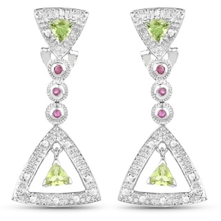 Malaika Sterling Silver 1 2/5ct Peridot Ruby and Cubic Zirconia Earrings