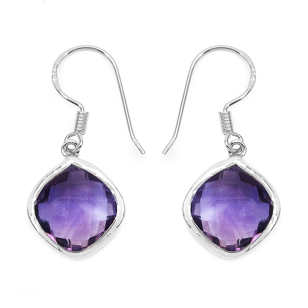 Malaika Sterling Silver 10 2 3ct Genuine Amethyst Earrings