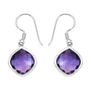 Malaika Sterling Silver 10 2/3ct Genuine Amethyst Earrings