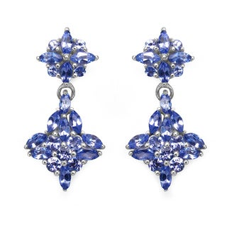 Olivia Leone Sterling Silver 2 1/2ct Genuine Tanzanite Earrings
