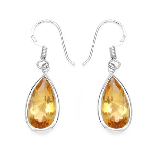 Olivia Leone Sterling Silver 10ct Genuine Citrine Earrings
