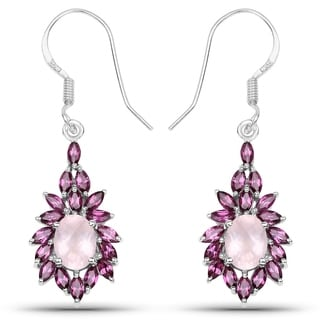 Olivia Leone Sterling Silver 5 1/3ct Rose Quartz and Rhodolite Earrings