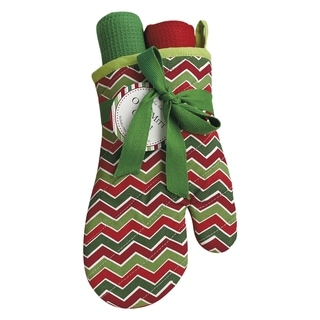Holiday Chevron Oven Mitt and Dishtowel Gift Set