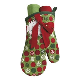 Snowflake Dots Oven Mitt and Dishtowel Gift Set