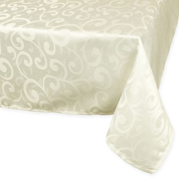 High Quality Cream Poly Damask Tablecloth