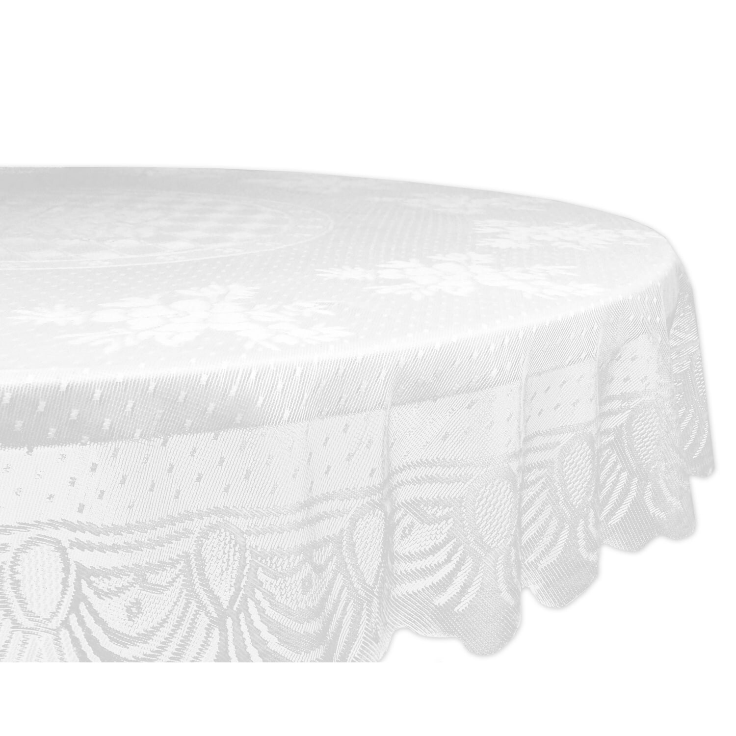 Design Imports Lace Floral Poly Tablecloth (Round - Easte...