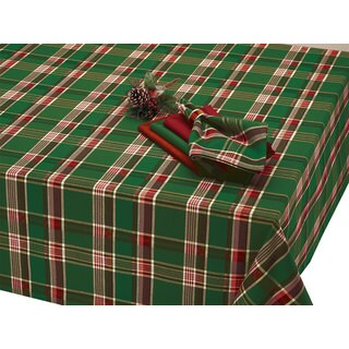 Dark Green Plaid Tablecloth