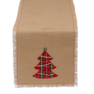 Tree Embroidered Burlap Table Runner