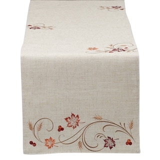Autumn Wheat Embroidered Table Runner