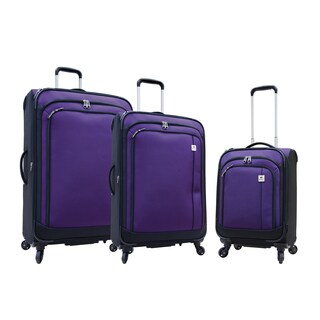 Samboro Feather Lite Purple 3-piece Lightweight Spinner Luggage Set