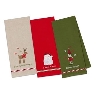 Santa, Elf, and Rudolph Embellished Dishtowel (Set of 3)
