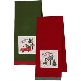 Dashing Through the Snow and O' Christmas Tree Embellished Dishtowel (Set of 2)