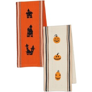 Jack O' Lanterns and Haunted Houses Embroidered Dishtowel (Set of 2)