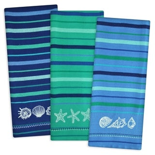 Blue Sea Embroidered Dishtowel (Set Of 3)