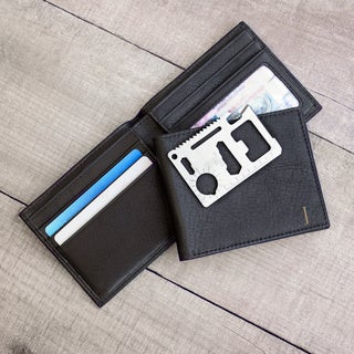Men's Personalized Black Bi-Fold Wallet with Multi-function Tool