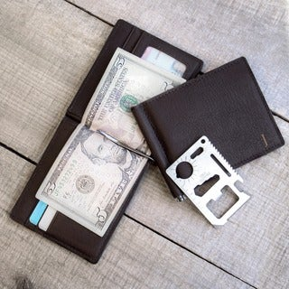 Personalized Black Leather Wallet with Money Clip and Multi-function Tool