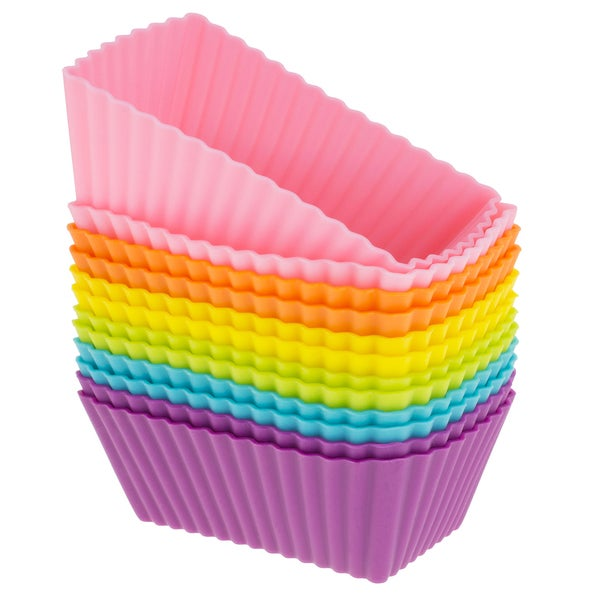 Freshware 12-pack Silicone Mini Rectangle Reusable Cupcake and Muffin Baking Cup