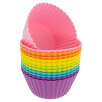 Freshware 12-pack Silicone Jumbo Round Reusable Cupcake and Muffin Baking Cup